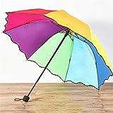 Regenschirm-Taschenschirm mit langem Griff in Regenbogenfarbe -