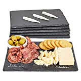Slate Cheese Boards, Black Charcuterie Stone Plates with Chalk for Parties, Appetizers, Meats (12x8 in, Set of 6)
