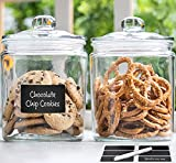 2pc Canister Set for Kitchen Counter + Labels & Marker - Glass Cookie Jars with Airtight Lids - Food Storage Containers with Lids Airtight for Pantry - Flour, Sugar, Coffee, Cookies, etc.