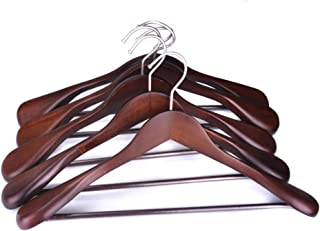DEWEL 高級木製ハンガー ウィン色 男性スーツ用 人体型 肩広い スーツ収納 皺防止 跡なし 濃い赤 穏やかな雰囲気 厚み スーツハンガー ホテル用 衣類掛け Hanger 男性用 5本セット クラッシク色
