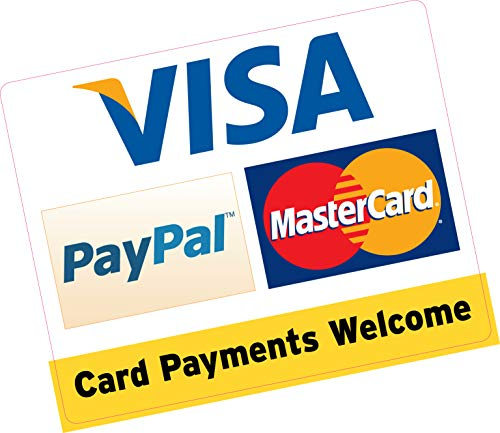 Card Payments Welcome PayPal Visa MasterCard 150 x 120 mm Kreditkarte Vinyl Aufkleber Shop Taxi Business