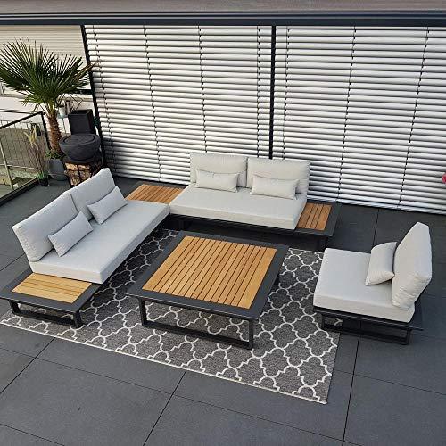 ICM Alu Gartenlounge Set Cannes Aluminium grau anthrazit Teak Gartenmöbel Loungegruppe Terrassenmöbel Outdoormöbel Loungeset Outdoorlounge