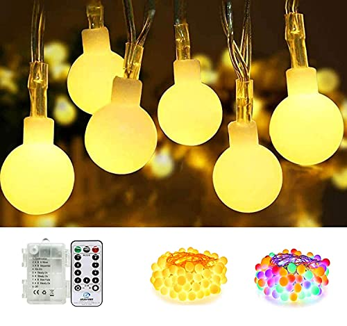 of battery electric strings SEMILITS Battery Operated String Light 100LED Globe String Lights with Remote Outdoor Fairy Lights for Christmas Bedroom Decor(Upgrade Warm White & Multicolor Free Switching)