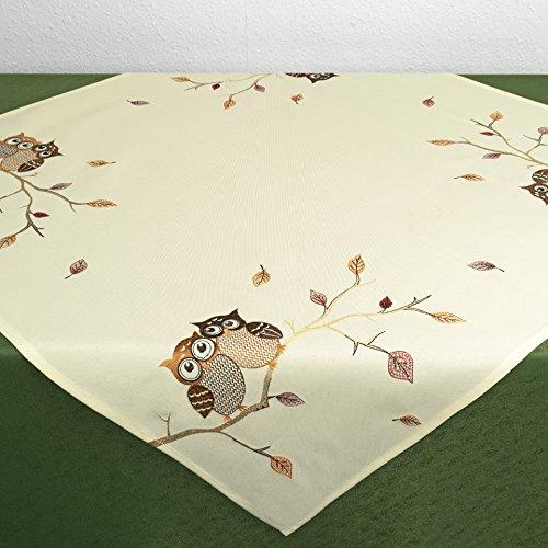 Kamaca Mitteldecke EULENPÄRCHEN mit süßen Eulen, sitzend auf einem AST - Filigrane Stickerei - EIN Schmuckstück in Herbst Winter (Mitteldecke 85x85 cm)