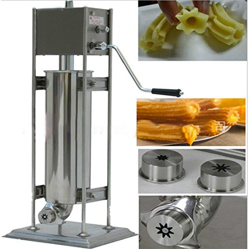 Zorvo Commercial Manual Churro Maker Machine For Restaurant Churro Filler Machine Stainless Steel Hand Crank Horizontal Churro Machine Maker Deep Fryer for Mexican Churros, Churreria