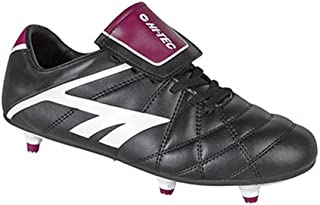 Hi Tec Boys & Girls League Pro Studded Football Rugby Boot Black Black White Synthetic UK Size 4 (EU 36, US 5)