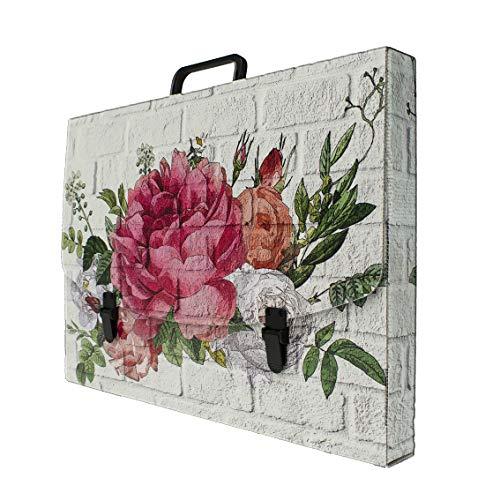 Valigetta scuola in Polionda 100% riciclabile stampata in alta qualità, misure 56X37X5 cm, Made in Italy (Flower)