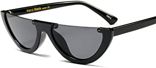 Narrow Half Rimmed Sunglasses for Women Slim Moon Skinny Flat Top Trendy Frame
