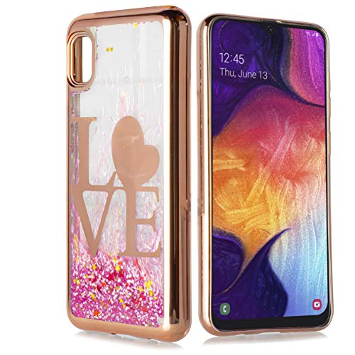 Customerfirst Case for Samsung Galaxy A10E Cute Liquid Glitter Flowing Quicksand Sparkle Stars Shockproof Protective Chrome TPU Rose Gold Cover for Galaxy A10E [Free Emoji Keychain!] (Love)