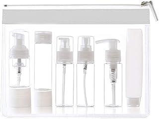 Uervoton トラベルボトル アルコール スプレーボトル 漏れ防止 軽量 携帯便利 シャンプー 化粧品 洗顔フォーム 収納 出張 海外旅行用 詰替ボトル 8セット 収納袋付き