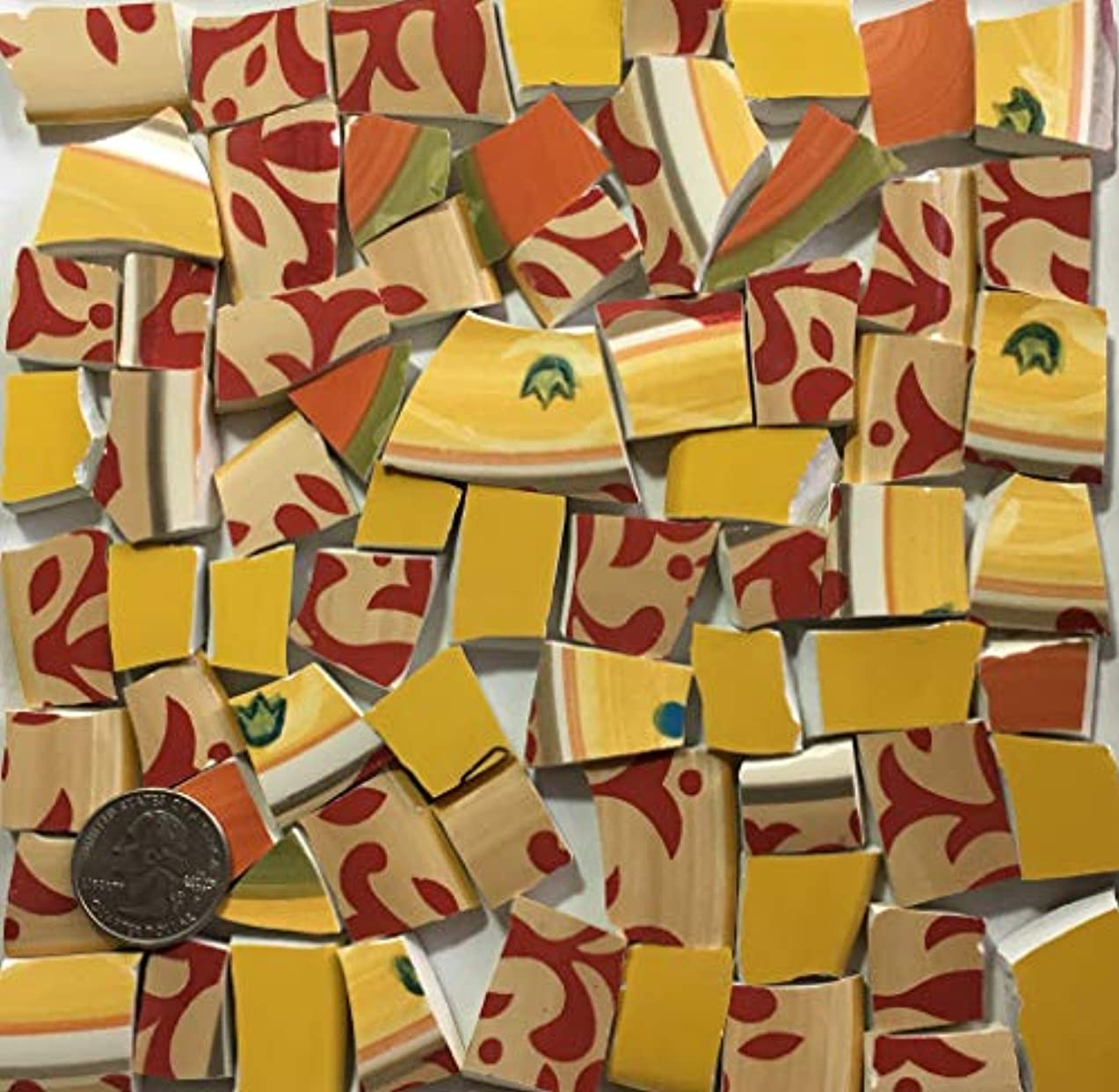 Mosaic Art & Craft Supply ~ Chunky Orange Red & Yellow Tiles (B088)