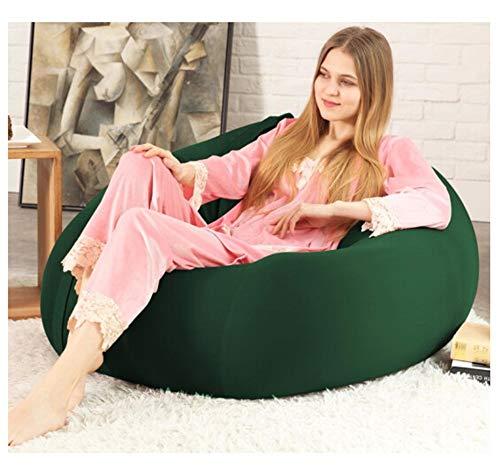Jamba Suave algodón Lazy Couch Bean Bag Tatami Balcón Dormitorio Sala de Estar Oficina Grueso Individual Suave Sección pequeña Sección Grande (Color : Dark Green, Size : M)