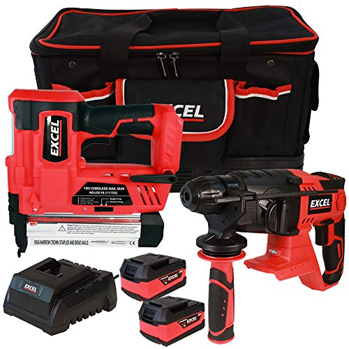Excel 18V Power Tool Cordless Twin Pack SDS Plus Rotary Hammer and Nailer with 2 x 5.0Ah Batteries & Charger in Bag EXL5106