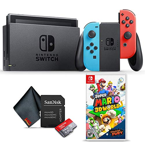 Nintendo Switch with Neon Blue and Red Controllers (HADSKABAA) Gaming Console Bundle with Super Mario 3D World + Bowser's Fury Game, 64GB microSD Memory Card, and 6Ave Cleaning Cloth