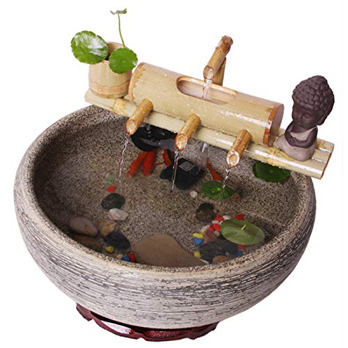 QXTT Bambusbrunnen Für Den Garten Bambus Wasserspiel Auslauf Mit Pumpe Gartendekoration Wasserfall Outdoor Japanisches Garten Feature Skulptur Deko Statuen,30cm