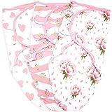 Baby Swaddle Blanket Wrap 3 Pack, Newborn Swaddles 0-3-Month, Small-Medium, Infant Swaddling Sack, Adjustable Swaddle Blanket Girl, Floral