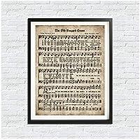 kldfig 古い頑丈なクロスプリントヴィンテージ楽譜ポスターキャンバス絵画写真賛美歌心に強く訴える引用家の装飾-50x70cmフレームなし
