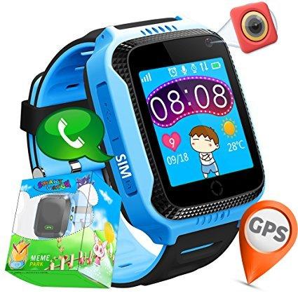 Winnes Reloj Inteligente Niño, Reloj Smartwatch Niños Niña GPS Soporte GPS + LBS de Doble Posicionamiento Geo-Cerca/intercomunicador de Voz Reloj Phone para niño (M05 Azul)