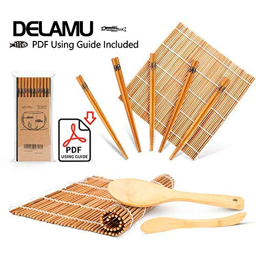 Sushi Making Kit, Bamboo Sushi Mat, Including 2 Sushi...