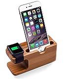 Ständer und Ladestation aus Bambus-Holz für 38mm und 42mm breite Apple-Armbanduhr und iPhone...