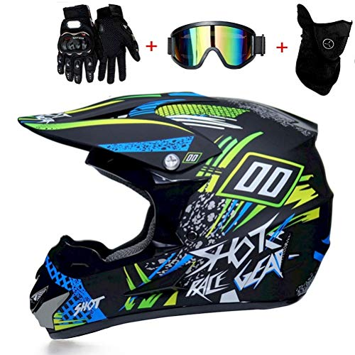 NMAQ Adulto Motocross Casco MX Moto Casco ATV Scooter ATV Casco, Negro y Verde Juego de Casco Road Racing para el Casco Integral de Campo a través Four Seasons con Gafas y Guantes,S54`55CM