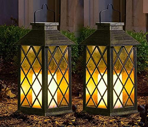 2 Paquetes Linterna de Jardín Solar al Aire Libre,Linterna Colgante de LED Linterna de Vela Sin Llama Parpadeante de Plástico con Decoración de Iluminación de Linterna a Prueba de Agua y Energía Solar