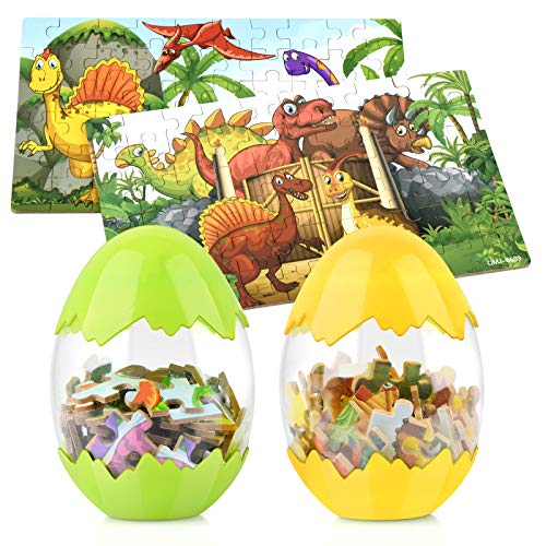 2 Pack Dinosaur Jigsaw Puzzles, 60 PCS Wooden 3D Mini Puzzle Easter Gift Dinosaur Egg Puzzle for Kids and Adult, 3-8 Years Old Dinosaur Toy,Challenging Family Puzzle Game Boys Girls Gift