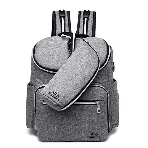 Verwisselbare tas, baby douche geschenken, baby veranderen zak, baby zak, baby veranderen rugzak, luiertas. Multifunctionele waterdichte reistas met USB-poort, grote capaciteit (grijs, roze, lichtblauw, marineblauw en zwart) Grijs