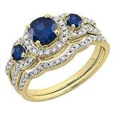 Round Blue Sapphire & White Diamond Ladies 3 Stone Halo Bridal Engagement Ring With Matching Band Set, 14K Yellow Gold, Size 9