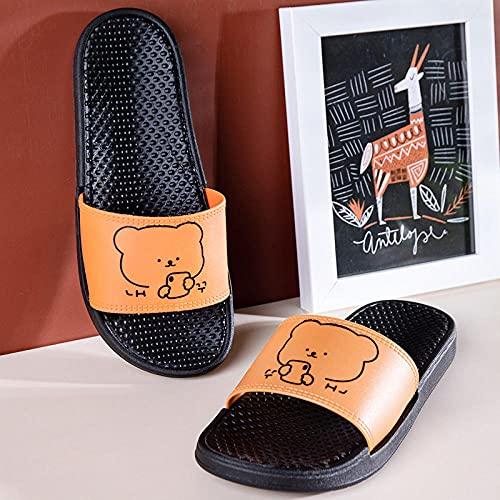 YYFF Chanclas para Adulto Mujeres,Inicio Flops Casuales, baño Zapatillas de baño-Amarillo Oscuro_38-39,Zapatillas de Casa