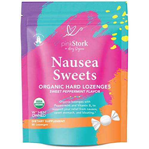 Pink Stork Nausea Sweets: Lite Peppermint, USDA Organic Hard Candy, Nausea Relief + Bloating & Digestion + Migraine Relief, Vitamin B, Supports Women's Multivitamin, Women-Owned, 30 Lozenges
