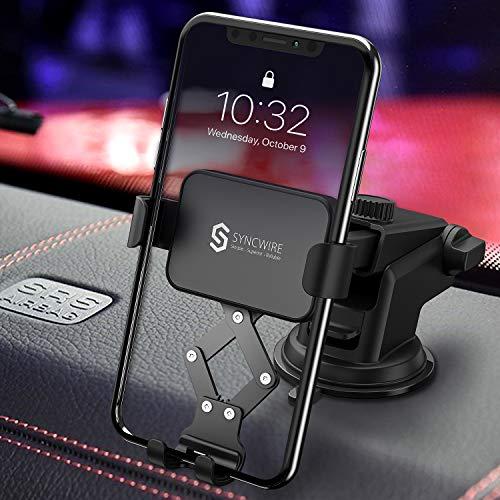 Syncwire Handyhalterung Auto, 360 Grad Drehung Sichtwinkel, Automatische Verriegelung, KFZ Handyhalter Auto Mit Saugnapf für 4,7-6,5 Zoll Smartphone Kompatibel with iPhone Samsung Huawei mehr Phones