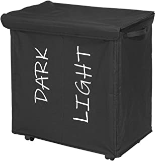 mDesign Divided Laundry Hamper Basket with Lid, Fabric Handles Pack of 1 Black 08412MDL