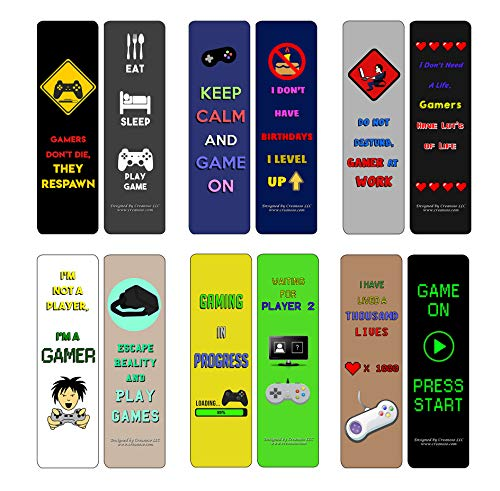 Creanoso Gamer Bookmarks (30-Pack) - Perfect Gift for Video Game Fans - Classroom and School Reward Incentives - Gift Ideas for Boys & Girls, Teens