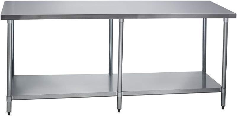 Fenix Sol Stainless Steel Commercial Kitchen Work Prep Table 30 W X 84 L X 36 H No Backsplash