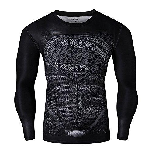 CT28 3D Druck Schwarz Fest Kompression Langarm-Shirt Grundschicht für Sport Fashion (M, Superman Black B Long)