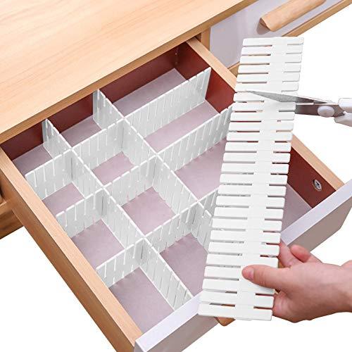 Divisore per cassetti regolabile fai da te, separatore per ordinare posate trucchi, vestiti, scrivania e scatola in cucina, bagno, camera da letto, ufficio (tagliato a piacimento) (16 pezzi)