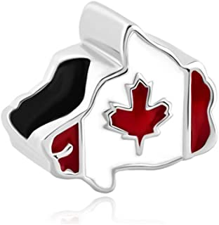 Maple Leaf Patriotic Proud To Be Canada Flag Of Canada Map Charms Beads For Bracelets