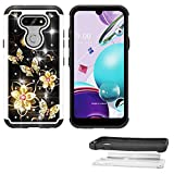 Phone Case Compatible with LG K31-Rebel/Phoenix-5 / Arsito-5 / Risio-4 / Fortune-3 Tempered Glass with Shock Absorbing Crystal Cover (Crystal Butterfly-Black)