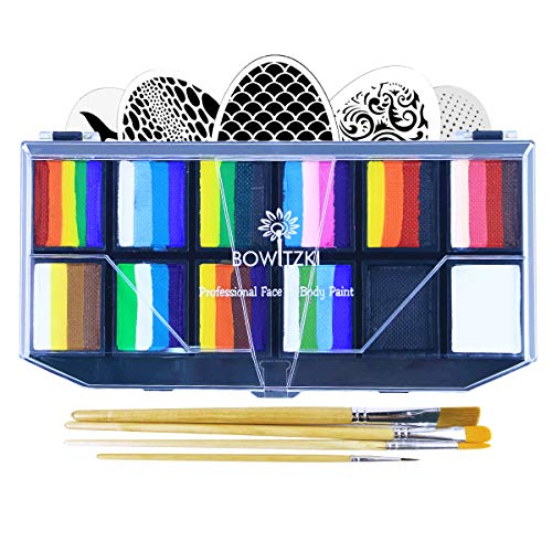 Bowitzki Professional Face Painting Kit for Kids Adults 12x10gm Face Paint Set with Stencil One Stroke Split Cakes Palette Non Toxic Rainbow Flora Dolphin Unicorn Flame Body Paint Makeup