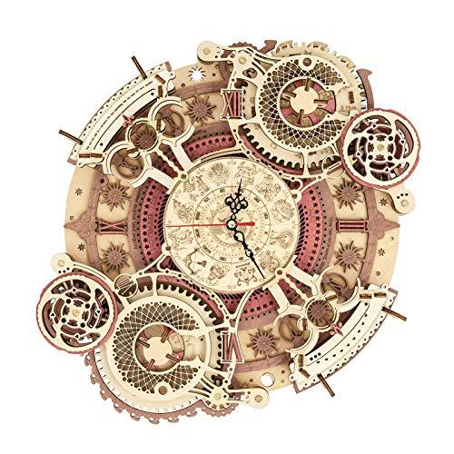 ROKR Rompecabezas Puzzles 3D Zodíaco pared Reloj para Adultos Niños Mayores de 14 Años Maquetas de Madera para Construir Regalos de Decoración Retro 168 Teilen, Zodiac Wall Clock