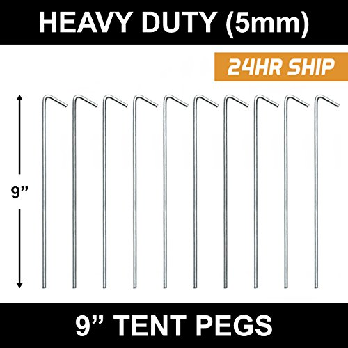 "9"" Galvanised Tent Pegs [20-200qty] - 5mm Thick Heavy Duty Steel, For Camping, Garden, Nets, Fixing Pins (200)"