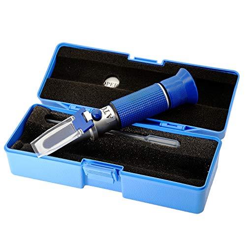 AMTAST Refraktometer Brix Zucker 0-32%, Dual Scale spezifisches Gewicht 1.000-1.120, aus Kupfer, mit ATC für Winzer Wein Bier Obst Frucht usw