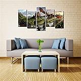 5 piezas de arte de pared mural isla de ensueño fantasía cartel mágico moderno impreso imagen del dragón para sala de estar decoración del hogar cartel de pared