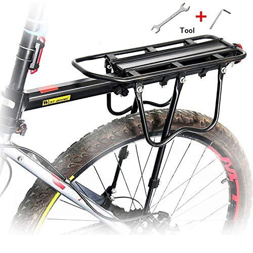 Queta Gepäckträger Mountainbike, Einstellbare Fahrrad Gepäckträger, Aluminiumlegierung rennrad Gepäckträger, Maximalbelastung 100kg mit Reflektor