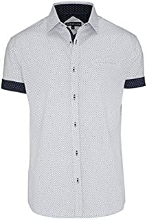 Tarocash Men's Roscoe Print Shirt Cotton Regular Fit Long Sleeve Sizes XS-5XL for Going Out Smart Occasionwear