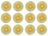 12 Pack 3/4' Yellow 80 Grit 3M Micron Radial Discs Polishing Set Metal Finishing Jewelry Making Flex Shaft Rotary Tool Kit