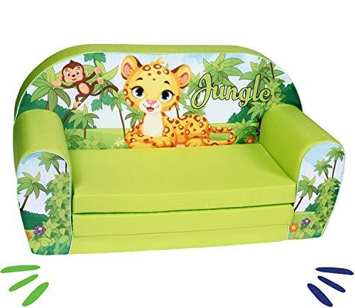 DELSIT universelles Kindersofa zum Ausklappen Ausklappbare Kinder Sofa Kindermöbel für Jungen und Mädchen DSCHUNGEL Grün