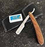 Afeitadora para barba profesional con mango de madera y funda de piel, 10 cuchillas
