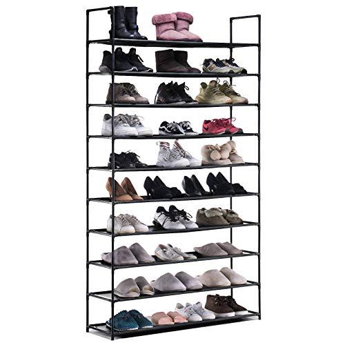 APICIZON 10 Tiers Shoe Rack, 50 Pairs Non-Woven Fabric Shoe Rack Organizer, LargeCapacity Shoe Storage Cabinet, Space Saving Shoe Shelf with Handles, Black
